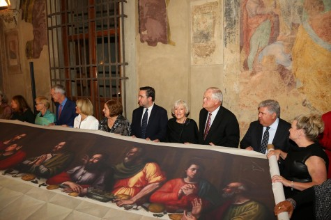 Apostle adopters and major sponsors with Last Supper copy